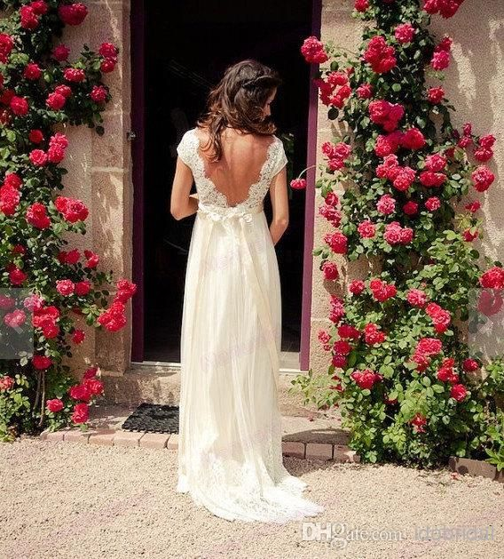 Vintage Lace Wedding Dress With Short Sleeves V Neck Empire Waist Long Bow Backless Bridal Gowns, $131.0 | DHgate.com