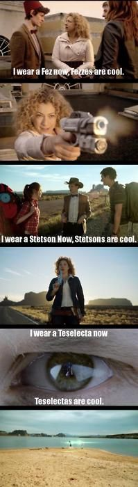 Moral of the story: never tell River Song something is cool. And never wear anything on your head. At least she hasn't shot the Bowie yet. That's cool. And the Doctor would be dead.