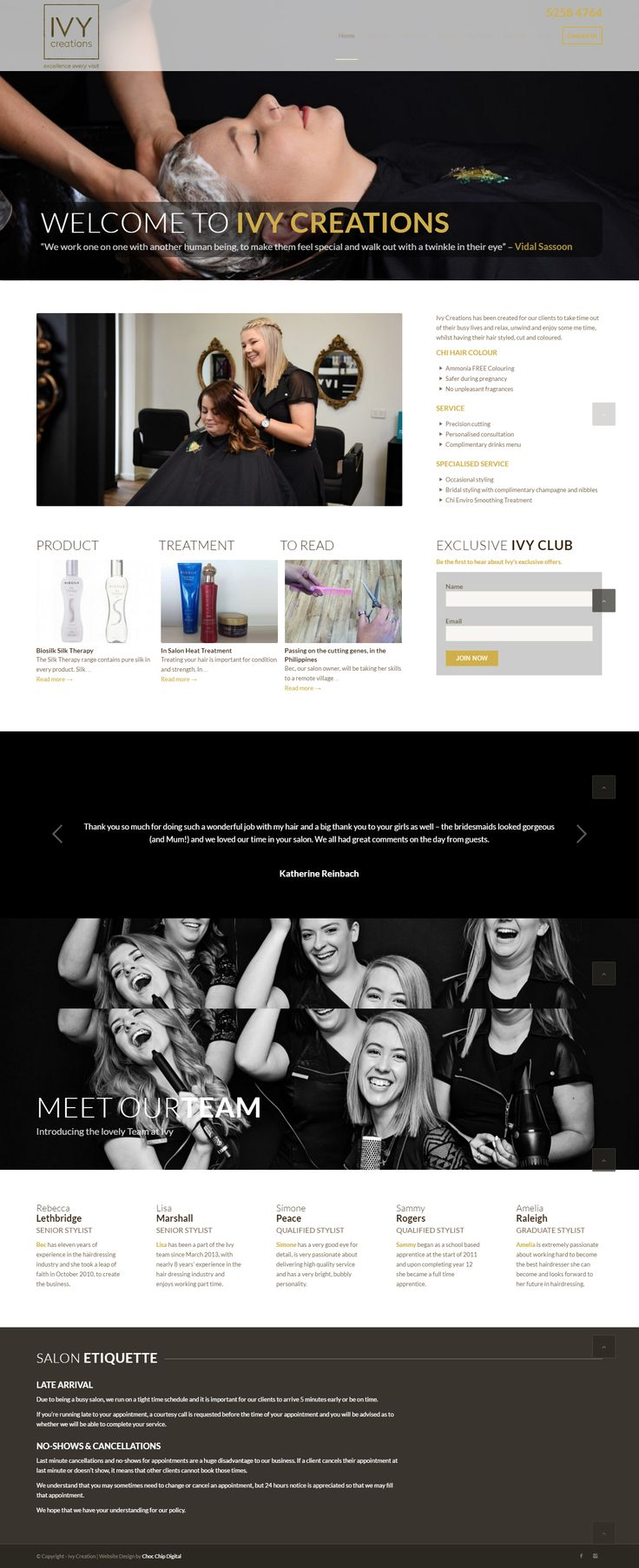 Style and fun at Ivy Creations hair salon.  A hairdressing salon specialising in high quality haircuts and styling. The team needed a website that could showcase their styles, reflect the standard of service they provided, and be found Google as a key marketing tool.