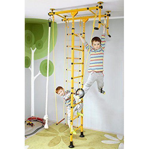 Sprossenwand, Klettergerüst, Heimsportgerät für das Kinderzimmer, FitTop M1 (Gelb, für Raumhöhe 200 - 250 cm)