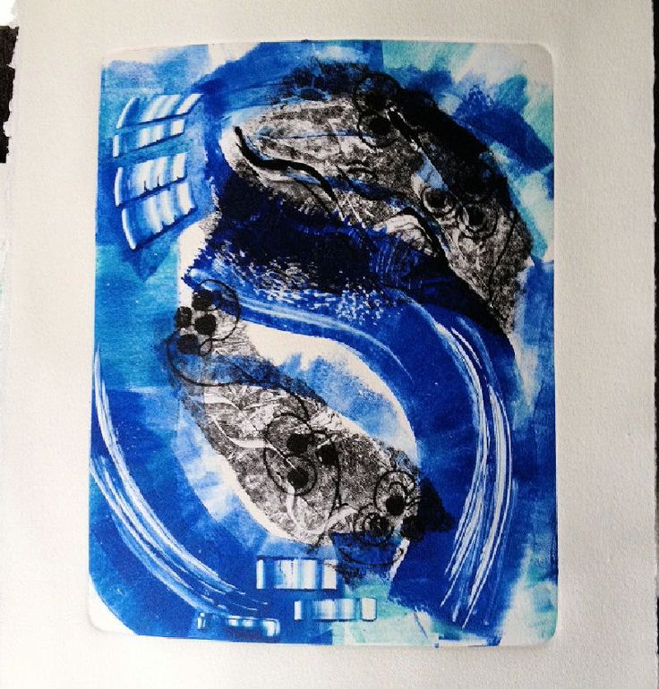 Original Oil Monotype Print 'Ocean's Peace' by DoodleArtbyBee on Etsy