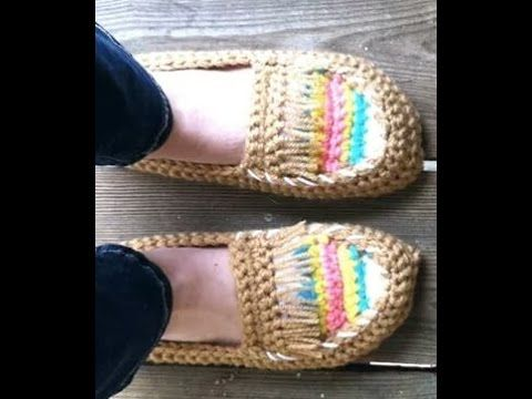 Hermosos mocasines a crochet paso a paso - YouTube