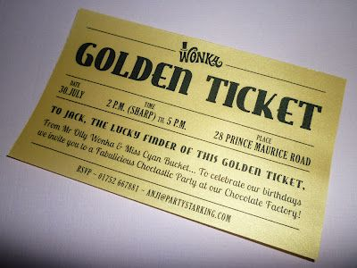 *starking crafty and party*: golden ticket chocolate factory birthday party invitations