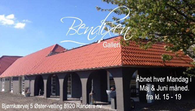 Sommer åbnet i Bendixen Galleri har mandag i maj og juni fra kl. 15-19  Galleri ligger 15 km uden for Randers ude på landet i skønne omgivelser. Se adr. På foto