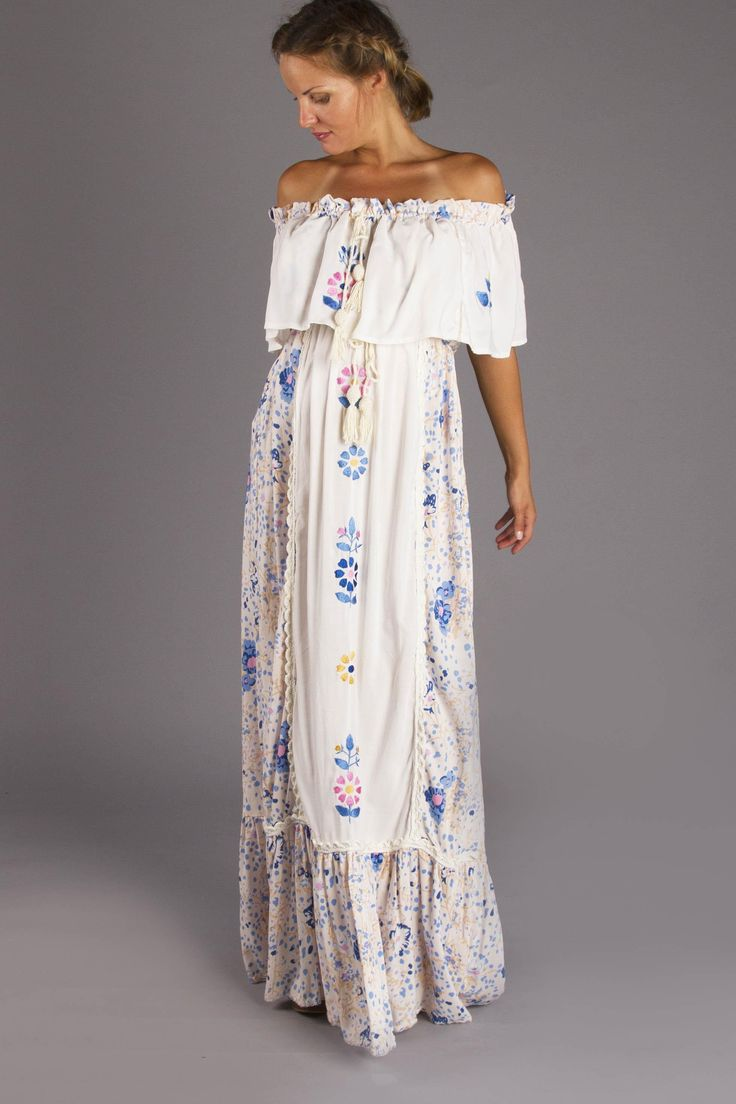 """Seeker Lover Keeper Nursing Dress"" Embroidered Nursing Maxi Dress - Floral Fillyboo - Boho inspired maternity clothes online, maternity dresses, maternity tops and maternity jeans."