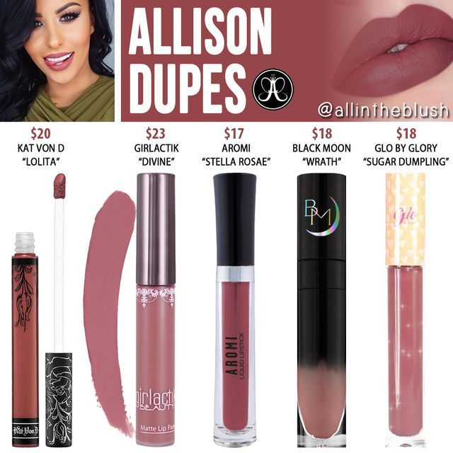 Anastasia Beverly Hills Allison Liquid Lipstick Dupes (All in the Blush)