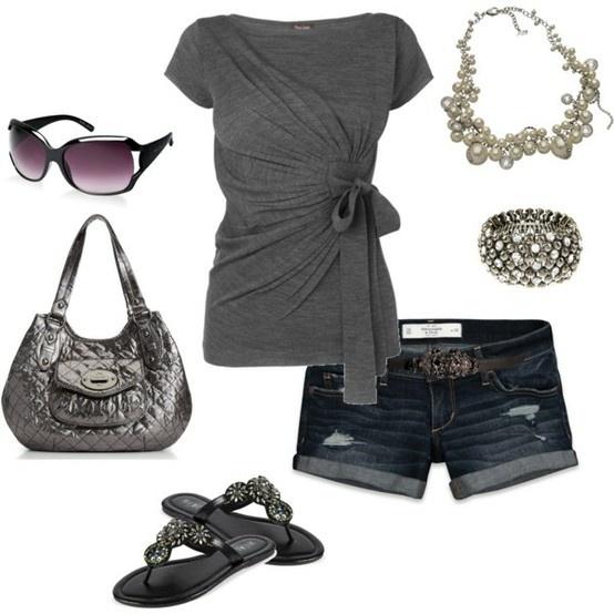 cute outfitFashion, Summer Looks, Summer Wear, Summer Outfit, Shirts, Grey, Cute Outfit, Jeans Shorts, Dreams Closets