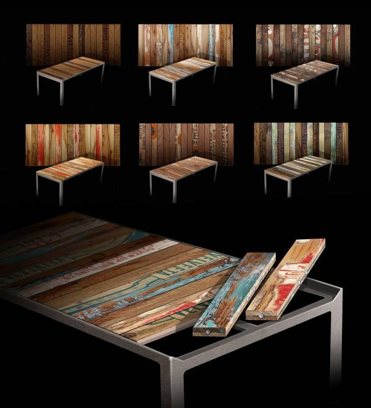 reSurface 4 600x658 The Re|Surface Table  in wood furniture  with Wood Vintage Table patchwork modular