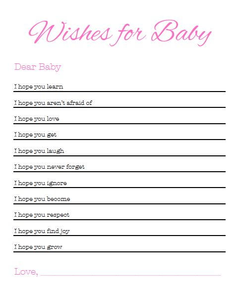 Wishes For Baby - #babyshower games