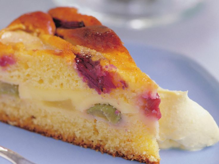 We have rhubarb. We have pear. We have custard. We have cake. Put them all together and we have rhubarb and pear custard cake. What's not to love? Not much, in our view. Serve it warm, with cream.