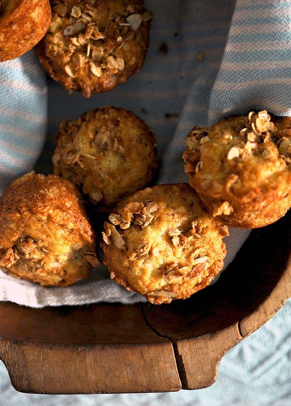 Ina Garten Banana Crunch Muffins made with homemade granola