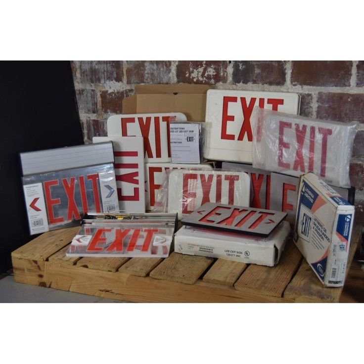 Large Lot of 15 Emergency Exit Signs , Face Plates & Parts #exitsigns