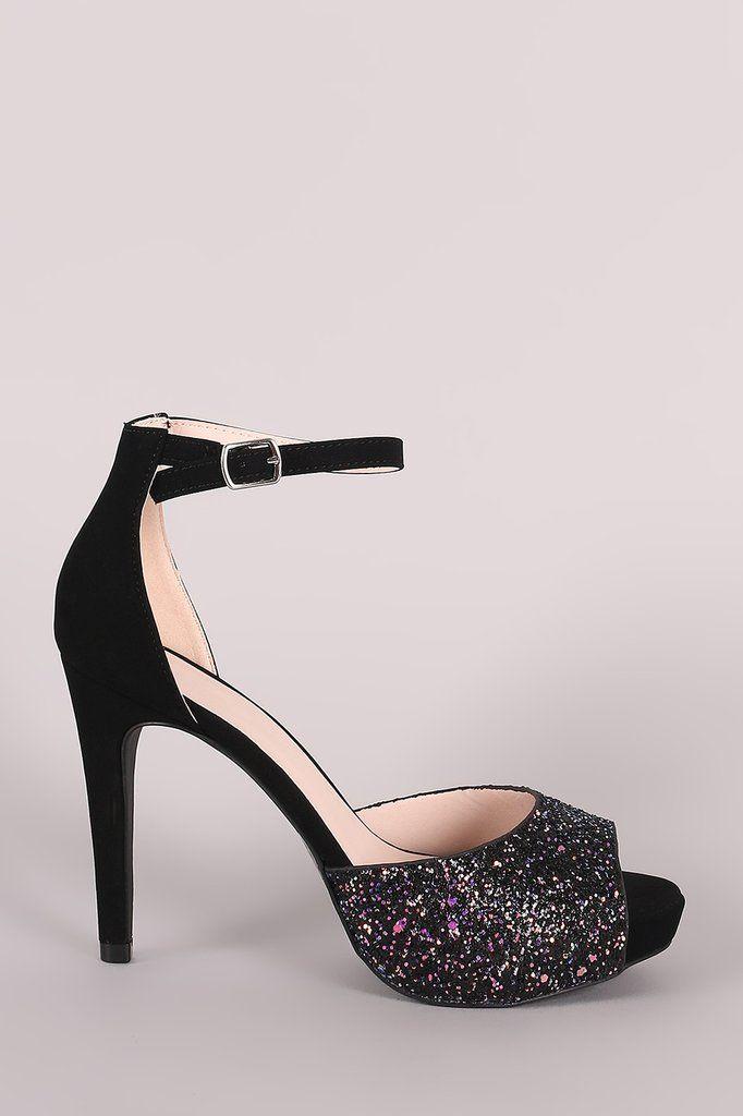 f062ee1c737 Qupid Iridescent Glitter Accent Ankle Strap Stiletto Platform Heels ...