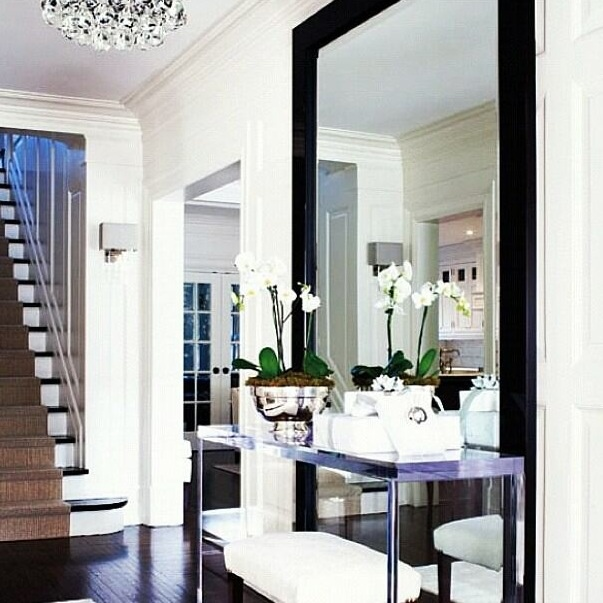 Large mirror in hallway