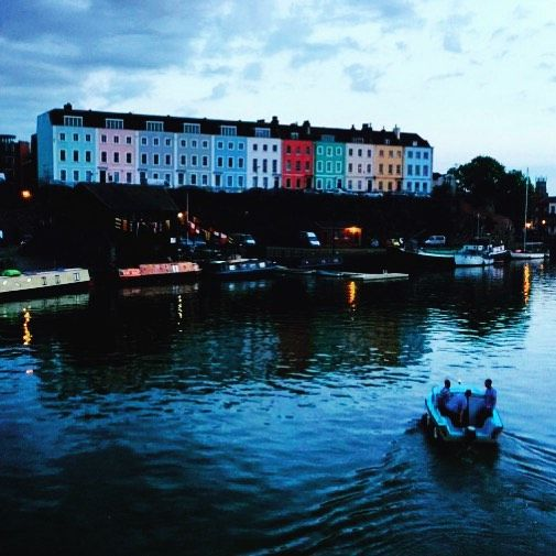 Bristol Harbourside at night with the coloured houses that everyone loves in #Bristol