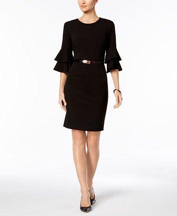 Ivanka Trump Belted Tiered-Sleeve Dress | macys.com