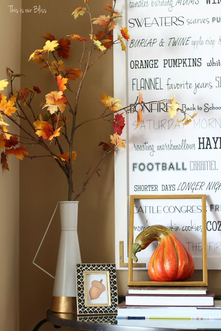 Fall entryway - fall vignette - entryway table styling - fall decor - neutral fall decor - DIY fall word art - leaves - open frame - This is our Bliss