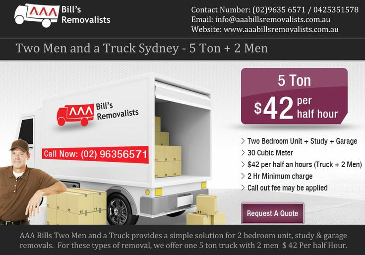 5 Ton + 2 Men and a truck Sydney to anywhere services.