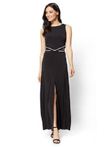 New York Company Maxi Dress Black White Waist Back Cut Outs