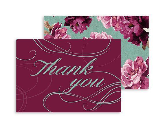 Printable Thank you card - Boho Vintage wedding - Swirls and Twirls Floral - Burgundy, Marsala, Mint - Foldable 5x3.5   Swirls and Floral by NicyaPrintables on Etsy
