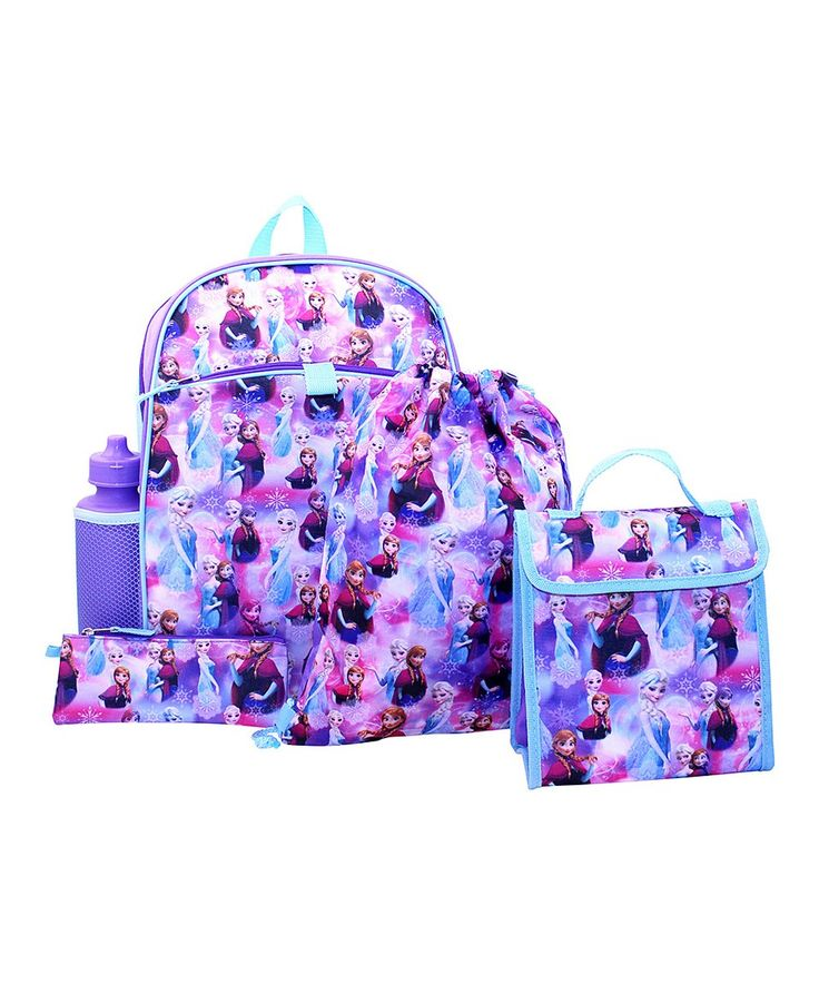 Take a look at this Frozen Blue & Purple Backpack Set today!  16.99