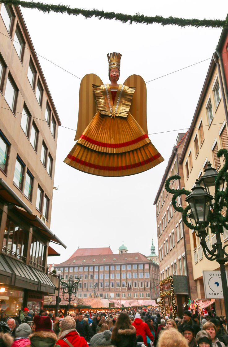 Gold angels watch over the Nuremberg Christmas Market, Germany's most famous.