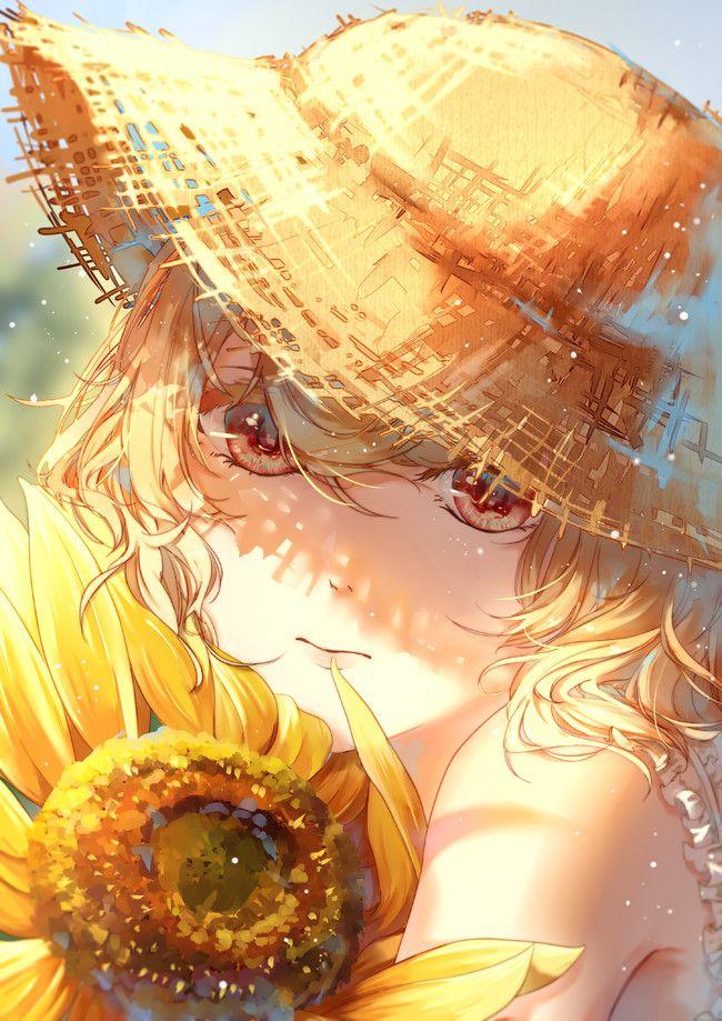 Sunflower   ひまわり, 夏イラスト, 幻想的なイラスト
