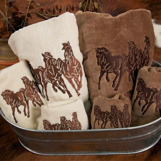 Horses Embroidered Towel Set