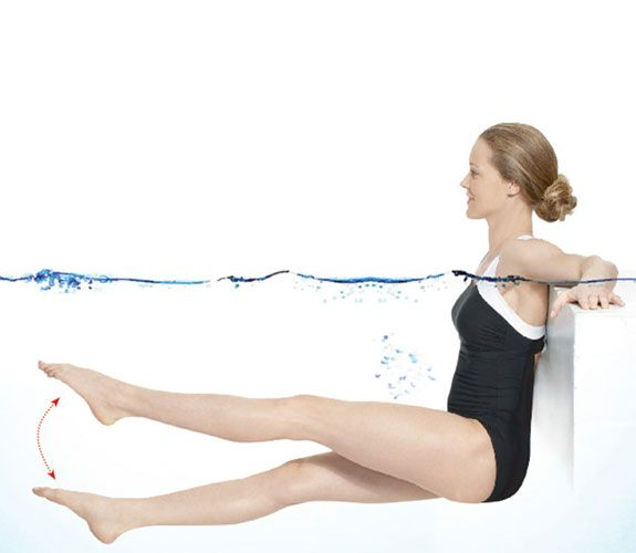 What this works: Core, rear, and thighs With your back to a pool wall, drape your arms on the ledge. Raise your legs so they extend straight ahead at a 90-degree angle to your body. Keeping your legs straight, kick them up and down four times, then from side to side (let feet cross) four times: That's one rep; do 10. Related on Good Housekeeping:Exercise: The Surprising Memory BoosterThe Hidden Dangers of the Hot TubFact or Fiction: 6 Surprising Truths About Swimming Safety…