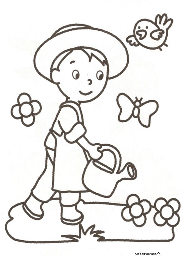 Coloriage Jardinier Enfant Et Papillons Et Dessin Gratuit A