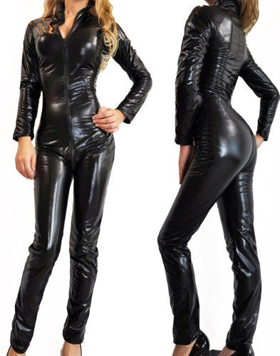 nawtyfox sexy gothic black wet look metallic catsuit fetish bodysuit superhero costume plus size halloween