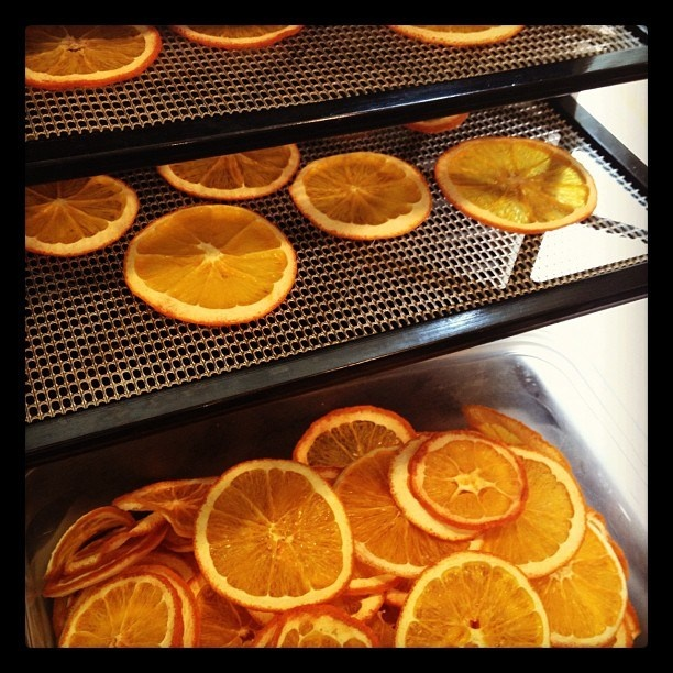 Drying oranges for Christmas garlands and wreaths