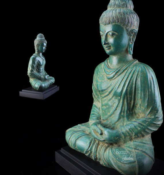 Gandhara Buddha 13 33cm Bronze Meditating Buddha Statue On Wooden Metal Stand Enlightened Zen Balanc Meditating Buddha Statue Buddha Meditation Buddha Statue