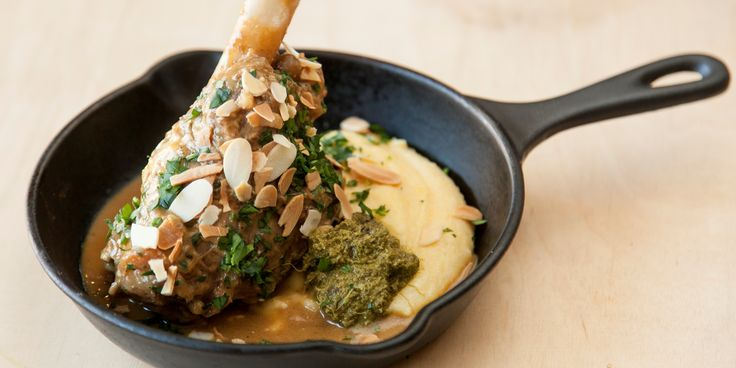 Anna Hansen's marvellous lamb shank recipe is paired with creamy polenta and a zingy lime pesto