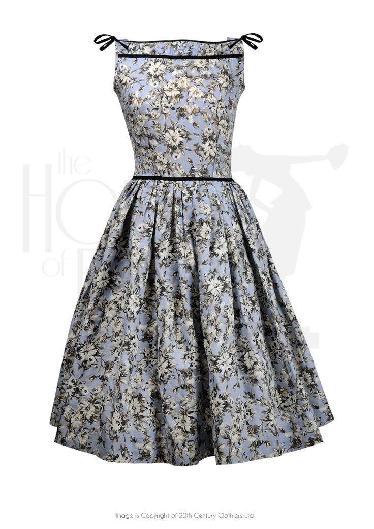 50s Audrey Swing Dress - cornflower
