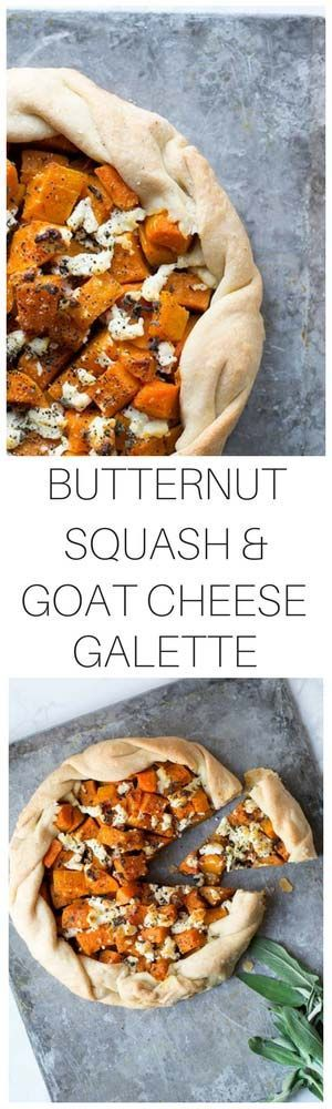 This Butternut Squash Galette with Goat Cheese and Sage is a perfect fall or winter appetizer. Galettes are perfect tarts for beginners because they're much easier to shape than regular tarts. Yet they're just as beautiful! #butternutsquash #galette #butternutsquashgalette #appetizer #savorysimple