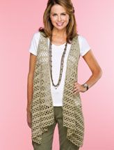 This stylish draped vest, worked end to end in one piece with armhole slits, can easily be adjusted in size by adding or subtracting rows. This e-pattern was originally published in Easy, No-Sew Crochet.  Size: Includes Woman's small through 3X-large. Made with medium (worsted) weight yarn and sizes E (3.5mm) and F (3.75mm) hooks.  Skill Level: Intermediate  Download Size: 4 page(s)  PRICE $3.99