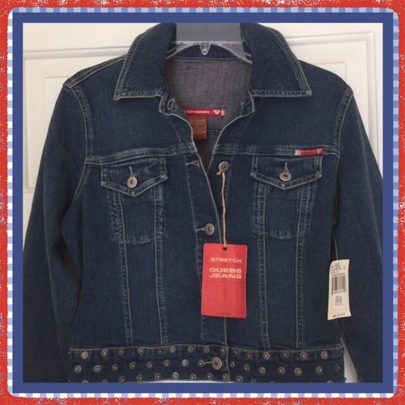 GUESS Denim Jacket Sz. Small NEW So cute, denim jacket with stud details, perfect Christmas gift. Fits size 2-3. 98% cotton, 2% spandex. New with tags, never worn. Guess Jackets & Coats Jean Jackets