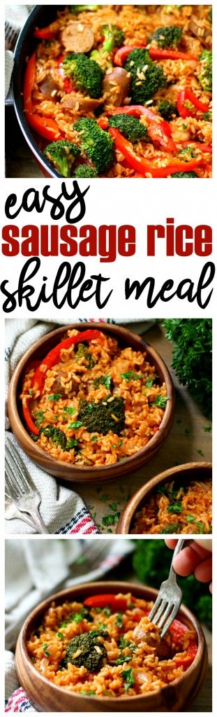 Easy Sausage Rice Skillet Meal w/ @riceselect is a hearty dish you can make in just one pot with very little hands on time! It's packed with flavor and guaranteed to satisfy!  #ad #riceselect #texmatibrown