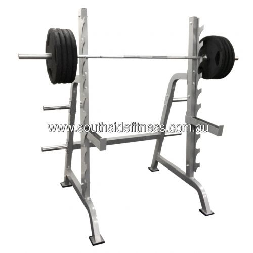 NUMBER 1 SQUAT RACK UNDER $500!  This heavy duty rack with easy to use adjustments & a barbell set great pieces to of equipment to have for strength training. This light commercial squat rack is most effective by offering safety when free weight training. Perform squats, calf raises, lunges, deadlifts, upright rows and many more strength building exercises.    FIND IT CHEAPER, WE'LL BEAT IT!