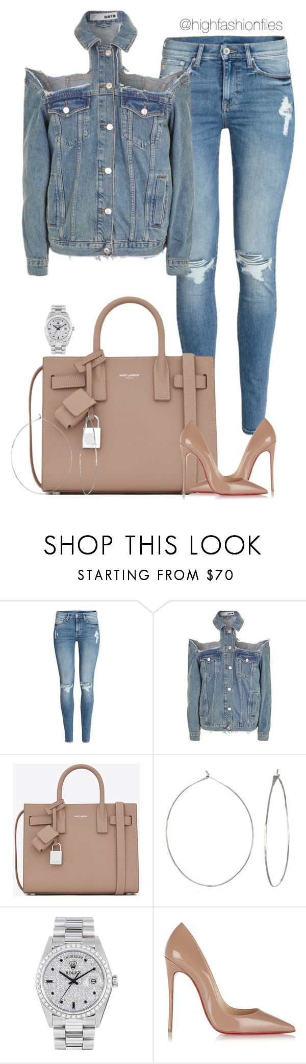 """""""Untitled #2708"""" by highfashionfiles ❤ liked on Polyvore featuring H&M, Topshop, Yves Saint Laurent, Phyllis + Rosie, Rolex and Christian Louboutin"""