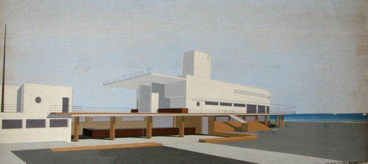 """1933-36, Stabilimento balneare """"Lungomare"""", Ostia-Lido (Roma), arch. Enrico Del Debbio"""