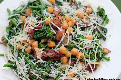 You have got to try t his recipe:  Chickpeas with Broccoli Raab and Bacon.