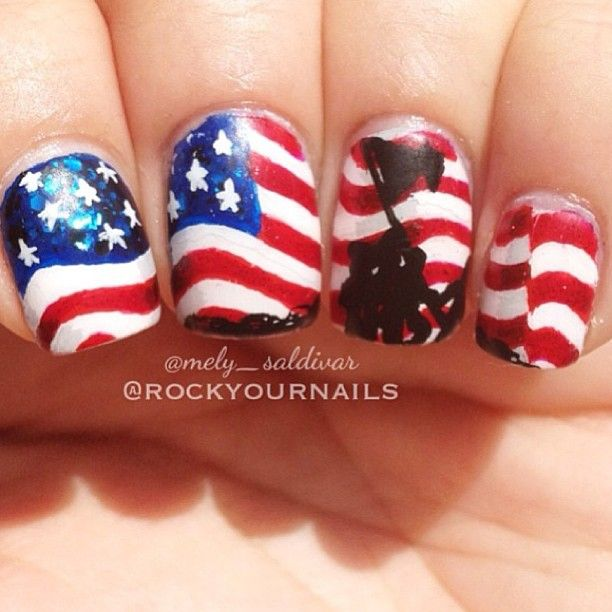 Photos by nailartdivas really cute July 4th or memorial or veterans day nails to represent ur country