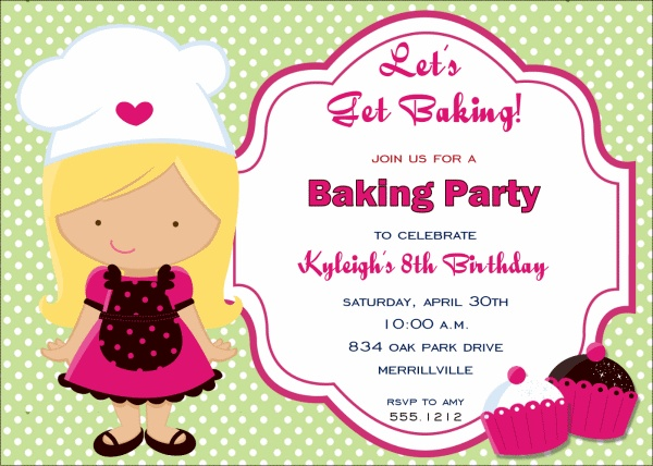 34 best Baking Party images – Kids Cooking Party Invitations