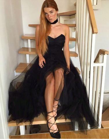 strapless black tulle long prom dress, PD2574