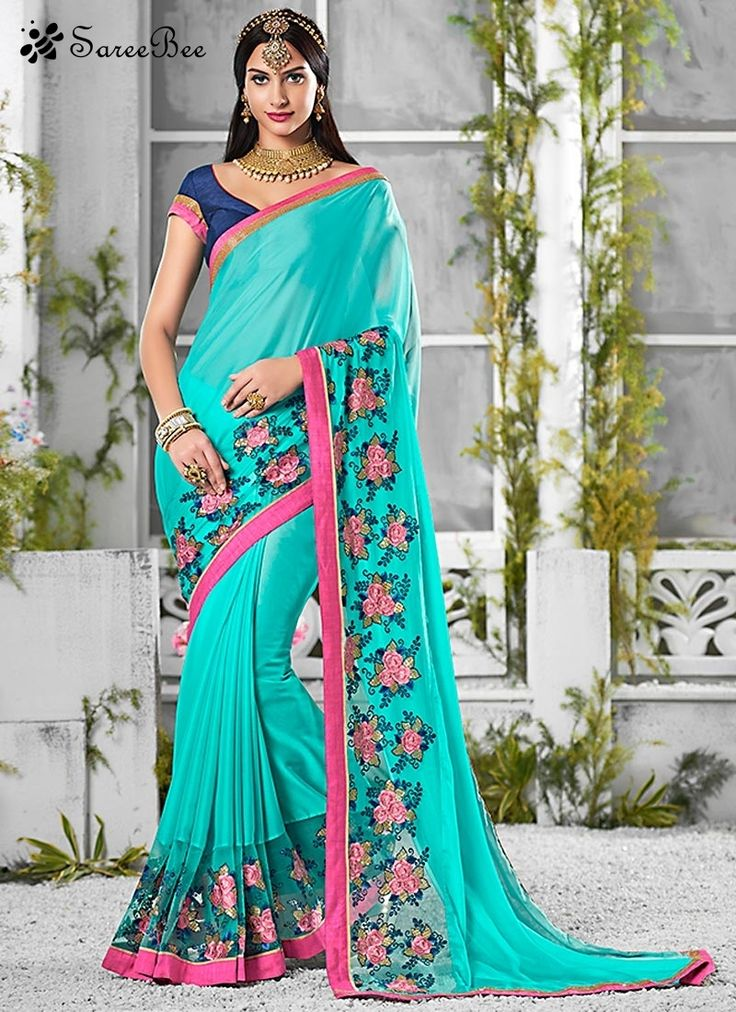 Prominent Embroidered Work Designer Saree For More ...