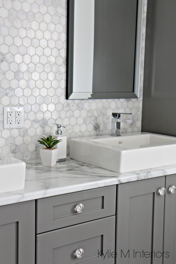 formica 180fx calacatta marble laminate countertop hexagon mosaic marble backsplash and chelse gray vanity in