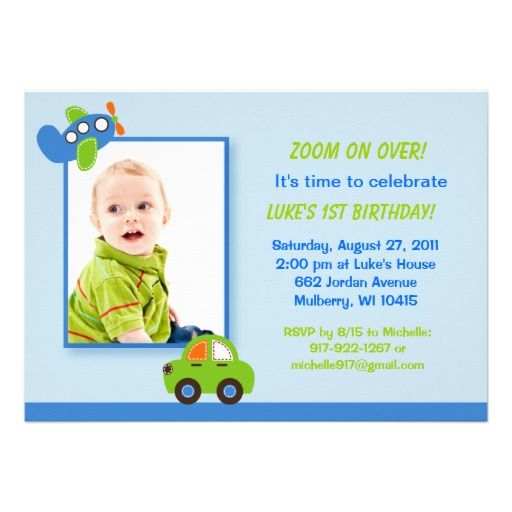 Boys Transportation Photo Birthday Invitations ...