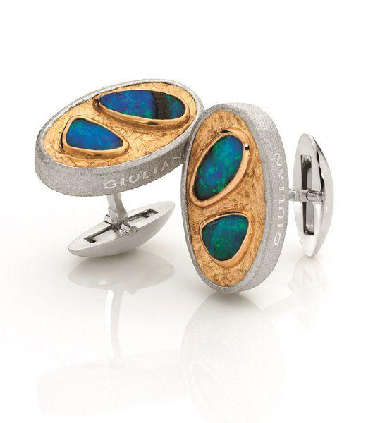 Boulder Opal 22ct gold & silver cufflinks